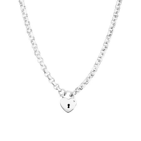 45cm Heart Padlock Belcher Necklace in Sterling Silver