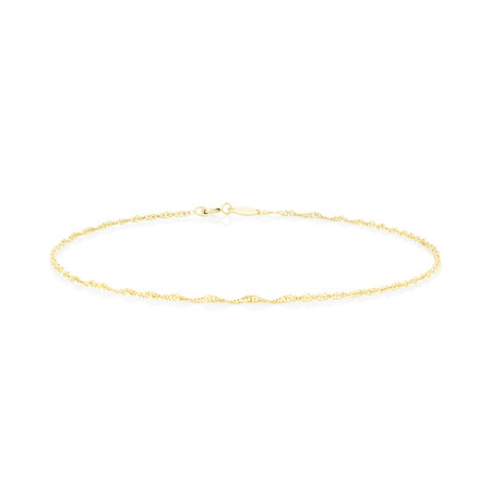 Singapore Anklet in 10kt Yellow Gold