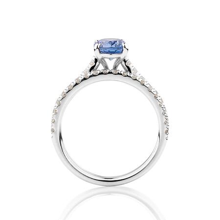 Bridal Set with 5/8 Carat TW of Diamonds & Tanzanite in 14kt White Gold