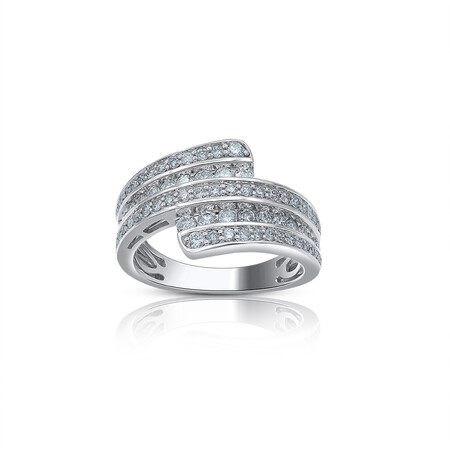 Three Row Ring with 0.50 Carat TW of Diamonds in 10kt White Gold