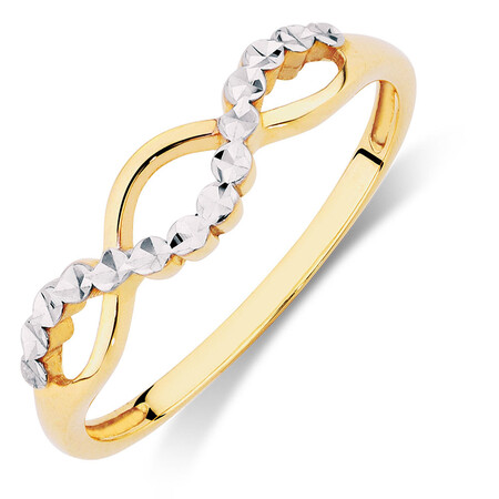 Crossover Ring in 10kt Yellow & White Gold