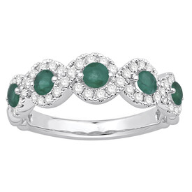 Ring with Natural Emerald & 0.46 Carat TW of Diamonds in 14kt White Gold
