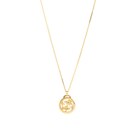 Pisces Zodiac Pendant with Chain in 10kt Yellow Gold