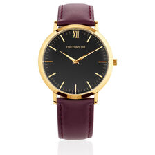 Ladies Watch with Grape Leather Strap in Gold Tone Stainless Steel
