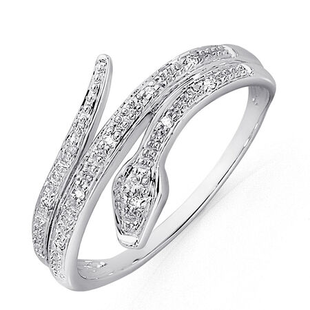Snake Ring with Diamonds in 10kt White Gold