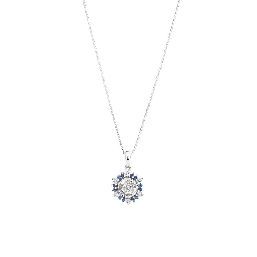 Pendant with Sapphire & 0.20 Carat TW of Diamonds in 10kt White Gold