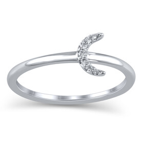 Half Moon Ring in 10kt White Gold