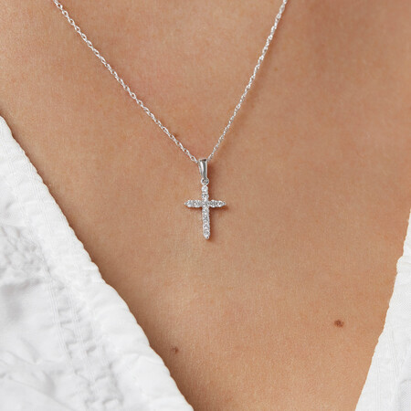Cross Pendant with Diamonds in 10kt White Gold
