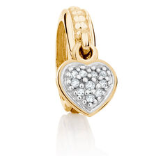 Diamond Set & 10kt Yellow Gold Heart Charm