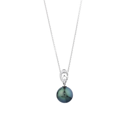 Pendant With Tahitian Pearl & Diamonds In 14kt White Gold