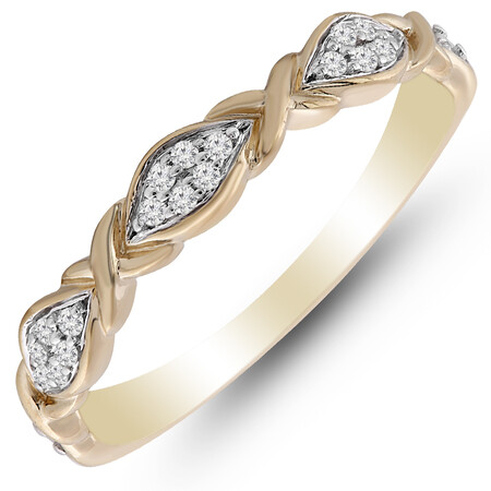 Crossover Ring with 0.10 Carat TW of Diamonds in 10kt Yellow Gold