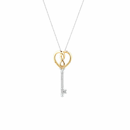 Infinitas Key Pendant with Diamonds in Sterling Silver and 10kt Yellow Gold