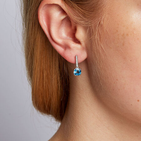 Online Exclusive - Drop Earrings with Blue Topaz & Diamonds in 10kt White Gold