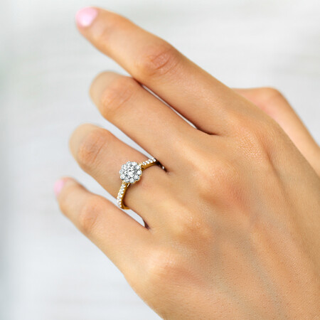 Southern Star Engagement Ring with 3/4 Carat TW of Diamonds in 14kt Yellow & White Gold