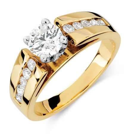 Engagement Ring with 1 Carat TW of Diamonds in 14kt Yellow & White Gold