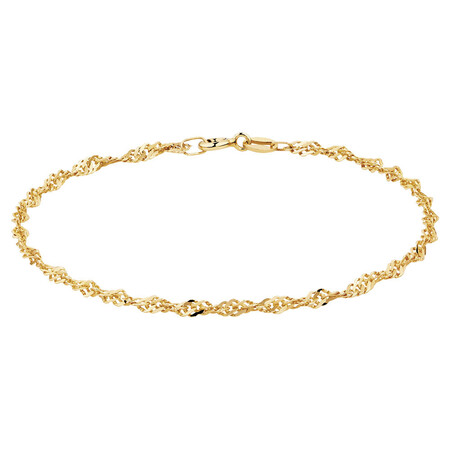 "19cm (7.5"") Singapore Bracelet in 10kt Yellow Gold"