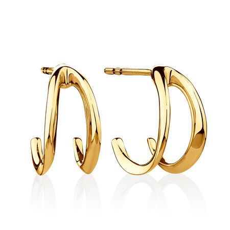 Small Mark Hill Huggie Earrings in 10kt Yellow Gold