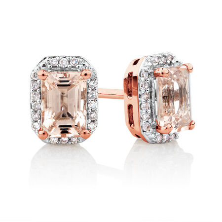 Stud Earrings with Diamonds & Morganite in 10kt Rose Gold
