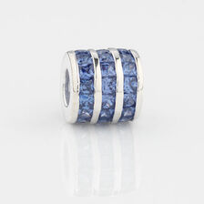 Online Exclusive - Triple Row Charm with Blue Cubic Zirconia in Sterling Silver