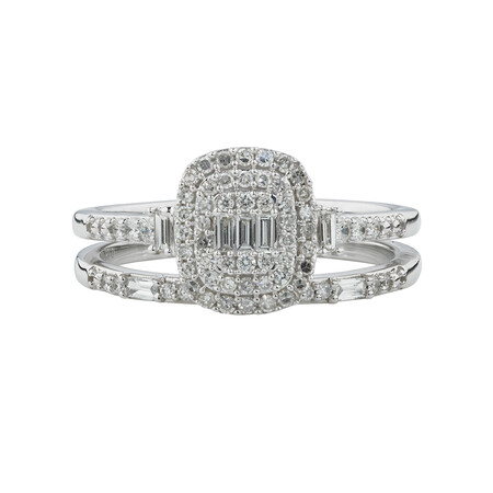 Evermore Bridal Set with 3/8 Carat TW of Diamonds in 10kt White Gold