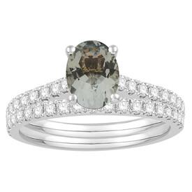 Bridal Set with Aquamarine & 0.69 Carat TW of Diamonds in 14kt White Gold