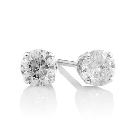 Stud Earrings with 0.50 Carat TW of Diamonds in 10kt White Gold