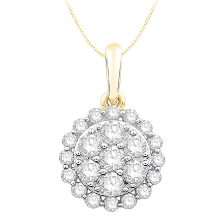 Cluster Pendant with 0.40 Carat TW of Diamonds in 10kt Yellow Gold