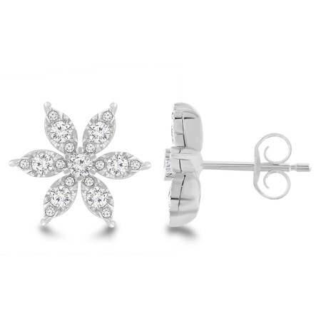 Flower Stud Earrings with 0.60 Carat TW Of Diamonds in 10kt White Gold