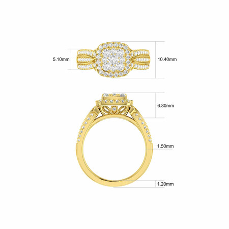 Cluster Halo Ring with 1 Carat TW of Diamonds in 10kt Yellow Gold