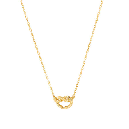 Overhand Rope Knot Necklace in 10kt Yellow Gold