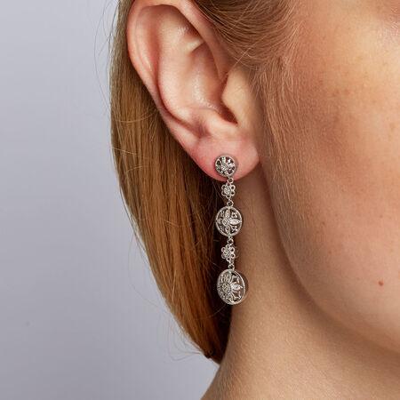 Drop Earrings with 0.15 Carat TW of Diamonds in Sterling Silver