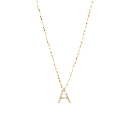 """""""A"""" Initial Necklace with 0.10 Carat TW of Diamonds in 10kt Yellow Gold"""