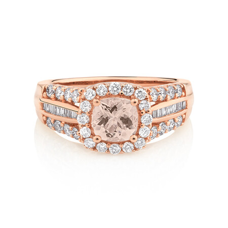 Halo Ring with Morganite & 0.75 Carat TW of Diamonds in 10kt Rose Gold