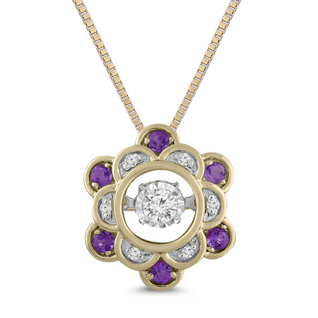 Everlight Pendant with Amethyst and Diamond in 10kt Yellow Gold