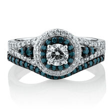 Online Exclusive - Bridal Set with 0.95 Carat TW of Enhanced Blue & White Diamonds in 14kt White Gold