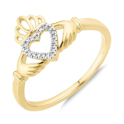 Claddagh Ring With Diamonds In 10kt Yellow Gold
