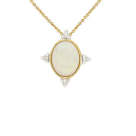Pendant with Opal and Diamond in 10kt Yellow Gold