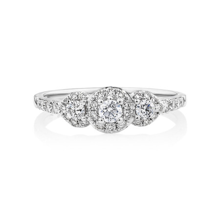 Evermore Three Stone Engagement Ring with 0.50 Carat TW of Diamonds in 10kt White Gold