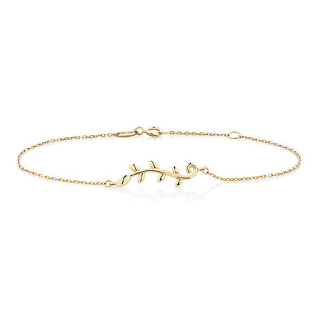 "19cm (7.5"") Olive Leaf Bracelet in 10kt Yellow Gold"