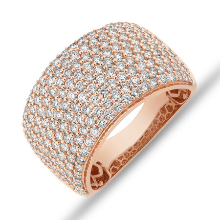 Pave Ring with 2 Carat TW Diamond in 14kt Rose Gold