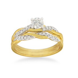Bridal Set with 0.60 Carat TW of Diamonds in 14kt Yellow & White Gold