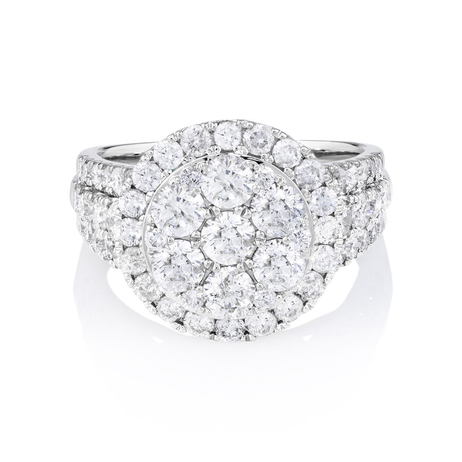 Halo Ring with 3 Carat Of Diamonds in 10ct White Gold
