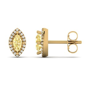 Earring with Diamond & Natural Citrine in 10kt Yellow Gold