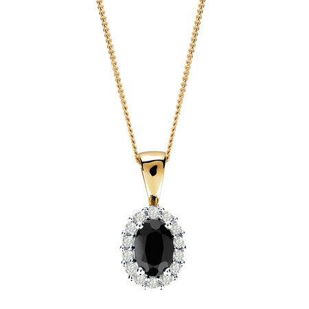 Pendant with Sapphire & Diamonds in 10kt Yellow & White Gold