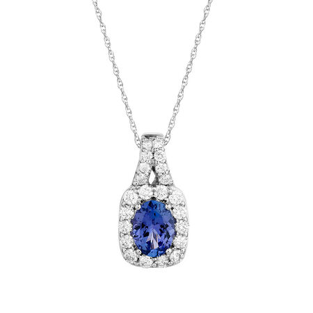 Pendant with Tanzanite & 3/4 Carat TW of Diamonds in 14kt White Gold
