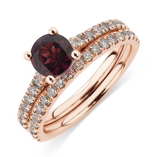 Bridal Set with 5/8 Carat TW of Diamonds & Rhodolite Garnet in 14kt Rose Gold