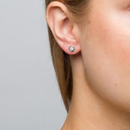 Flower Stud Earrings with Diamonds in 10kt White Gold