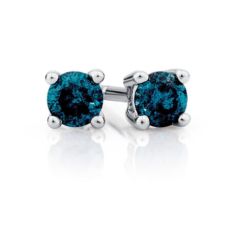 Stud Earrings with 1/4 Carat TW of Enhanced Blue Diamonds in 10kt White Gold