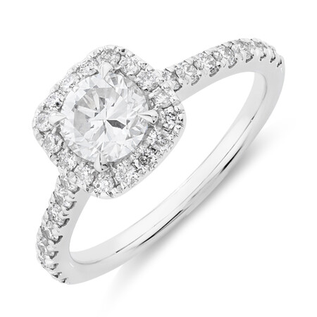 Evermore Halo Engagement Ring with 1.38 Carat TW of Diamonds in 14kt White Gold