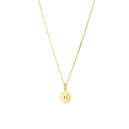 Gemini Zodiac Pendant in 10kt Yellow Gold
